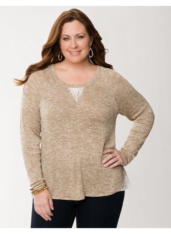 Lane Bryant Plus Size Lace inset tunic -  Tannin