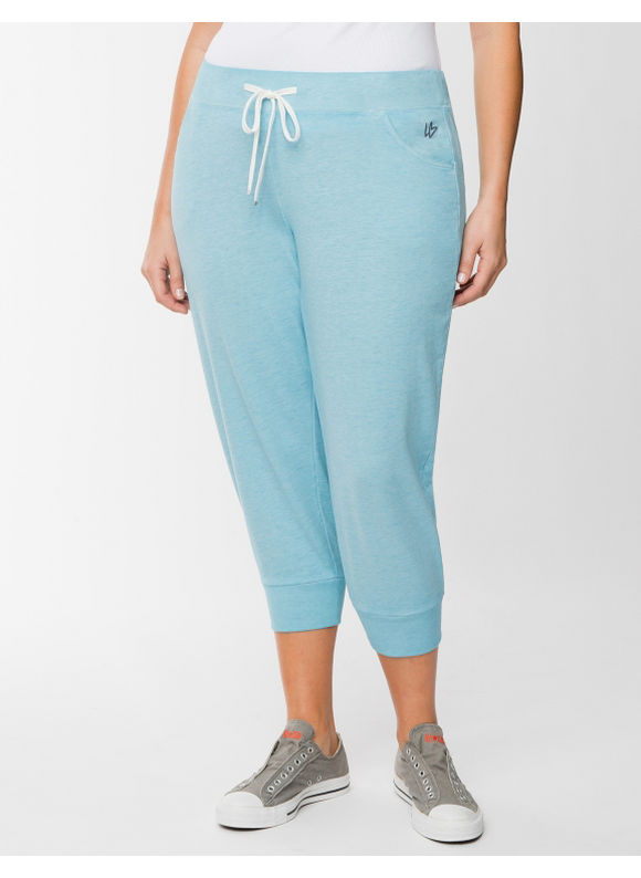 Lane Bryant Plus Size Burnout jogger capri - Bluefish