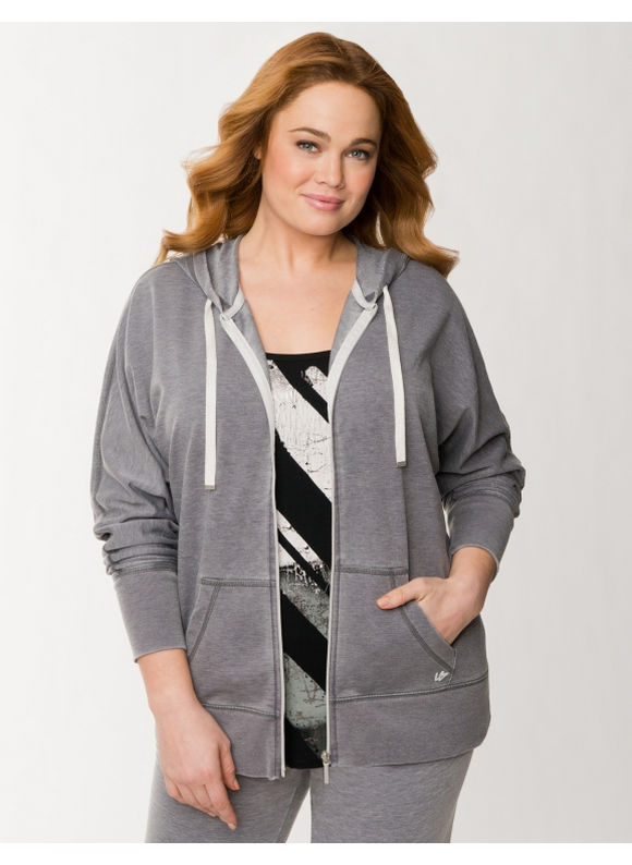 Lane Bryant Plus Size Burnout French terry hoodie - Charcoal
