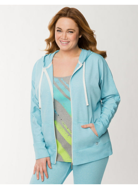 Lane Bryant Plus Size Burnout French terry hoodie - Bluefish