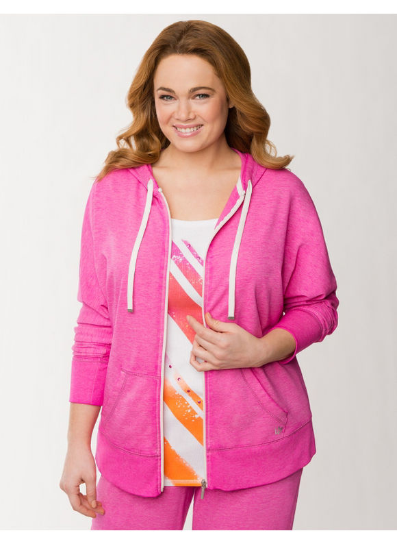 Lane Bryant Plus Size Burnout French terry hoodie - Fuchsia