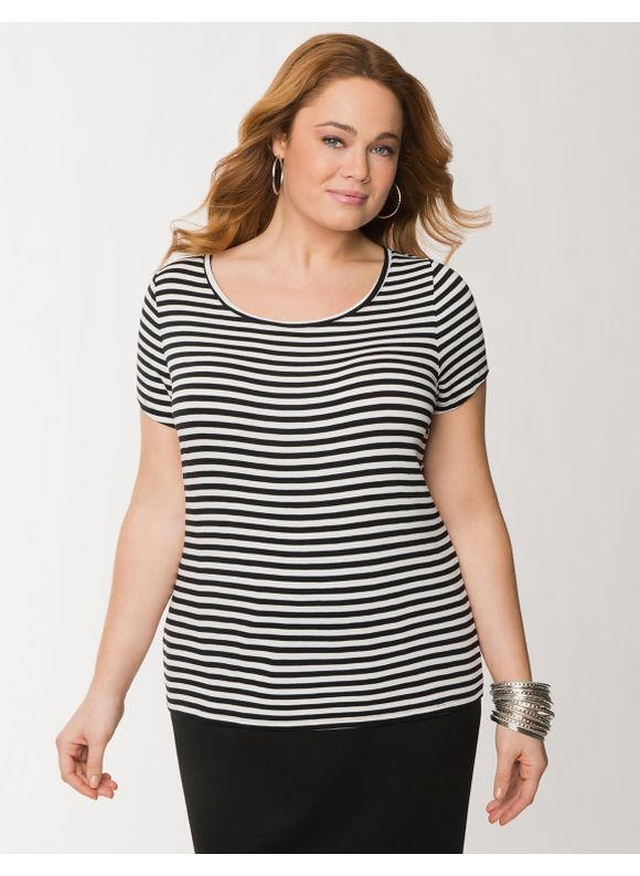 Plus Size Striped delicate ribbed tee - Black tops by Lane Bryant