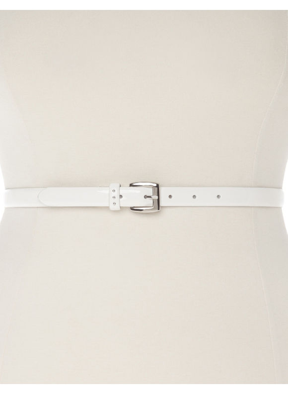 Lane Bryant Plus Size Patent skinny belt with studs Size 18/20, white - Lane Bryant ~ Trendy Plus Size Clothes