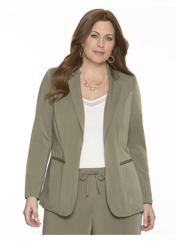 Lane Bryant Plus Size Crepe boyfriend jacket - - Women's Size 14, Rich olive