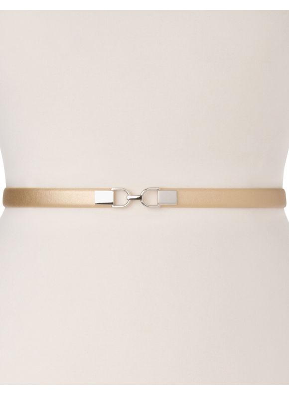 Lane Bryant Plus Size Metallic skinny stretch belt, Silver, Pale Gold