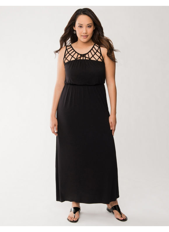 Lane Bryant Plus Size Lattice maxi dress - Black