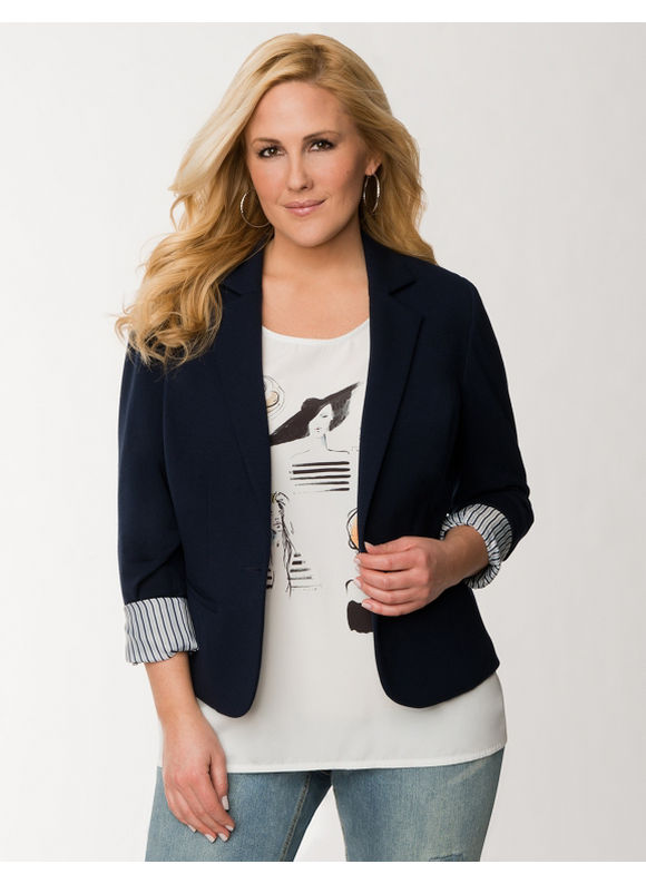Lane Bryant Plus Size French terry blazer - Dark Water