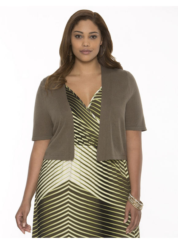 Plus Size Linen shrug -  Rich Olive tops by Lane Bryant