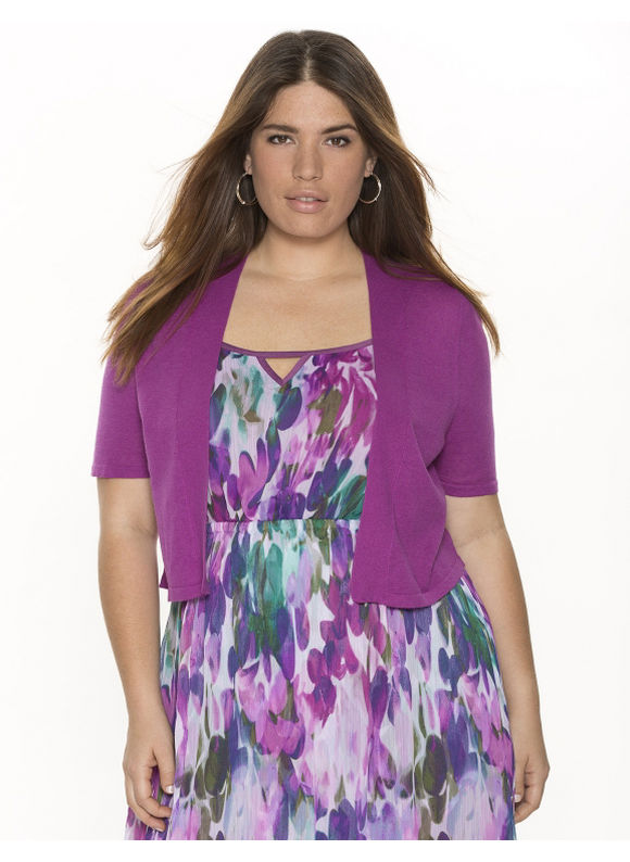 Lane Bryant Plus Size Linen shrug - Huckleberry