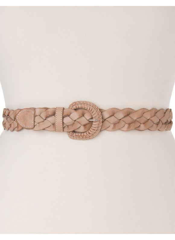 Lane Bryant Plus Size Woven leather belt - Light Taupe
