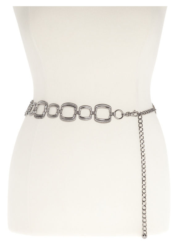 Lane Bryant Plus Size Square chain belt - Stone Gray