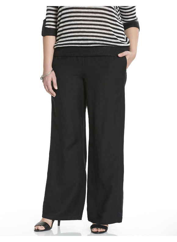 Plus Size Linen wide leg pant - Size 14/16, Black by Lane Bryant