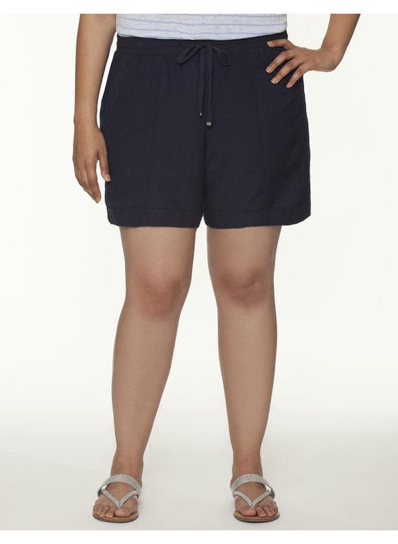 Lane Bryant Plus Size Knit waist linen short -  Dark Water