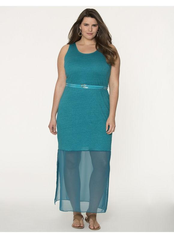 Lane Bryant Plus Size Linen maxi dress with chiffon hem - - Women's Size 26/28, Coastal turquoise