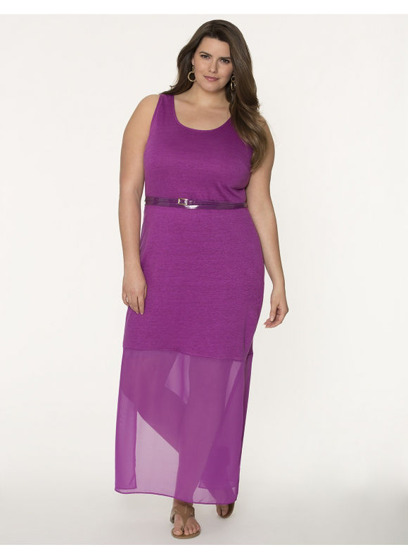 Lane Bryant Plus Size Linen maxi dress with chiffon hem - Huckleberry