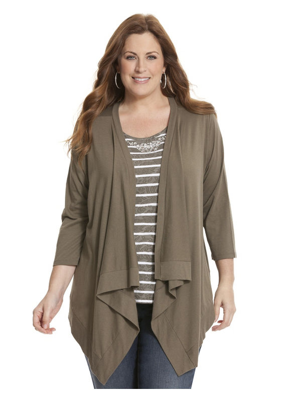 Lane Bryant Plus Size Casual wrap cardigan - - Women's Size 14/16,26/28,18/20,22/24, Black, Aquaria, Rich Olive