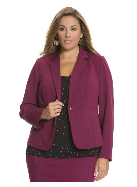Lane Bryant Plus Size Ponte fitted jacket Size 14, purple/black