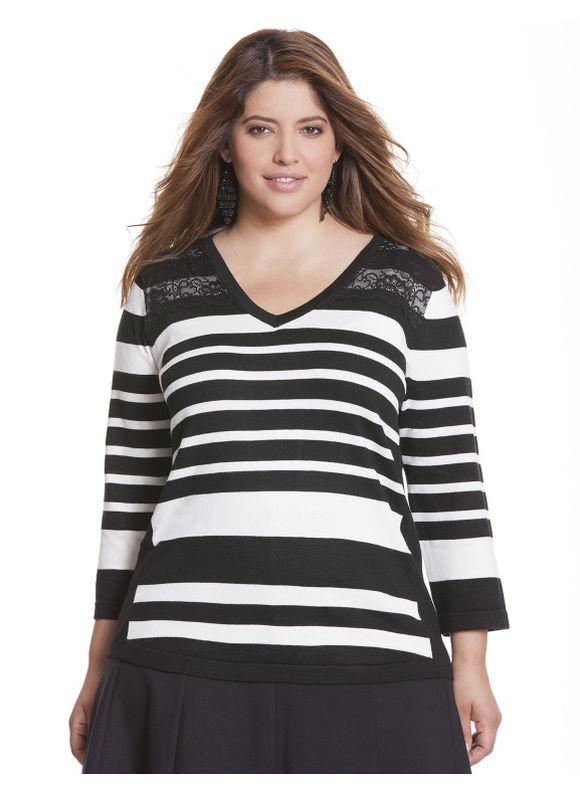 Plus Size Striped lace V sweater - - Women's Size 18/20, Black Lane Bryant