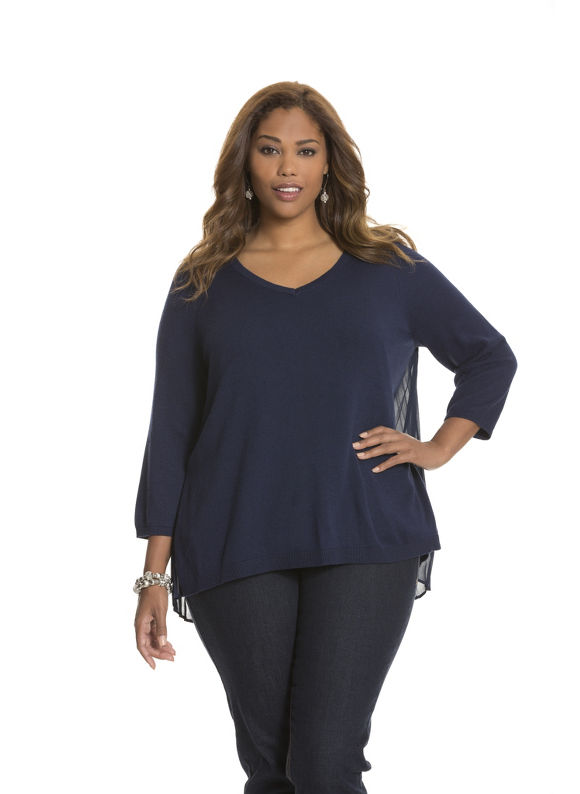 Plus Size Pleated chiffon back sweater - - Women's Size 14/16, Dark Water Lane Bryant