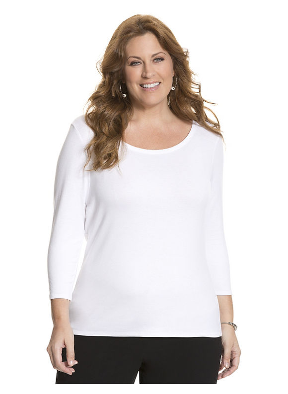 Lane Bryant Plus Size 34 sleeve delicate ribbed tee Size 14/16, white - Lane Bryant ~ Trendy Plus Size Clothes