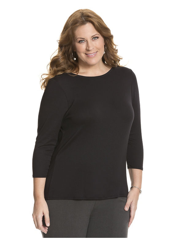 Lane Bryant Plus Size 34 sleeve delicate ribbed tee Size 14/16,18/20,22/24,26/28, White, Black - Lane Bryant ~ Trendy Plus Size Clothes