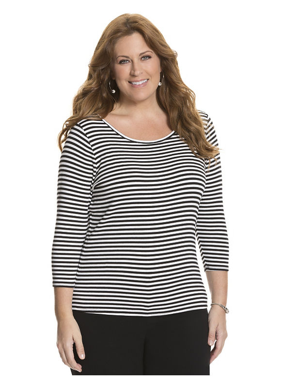Lane Bryant Plus Size 34 sleeve delicate ribbed tee by Size 18/20,22/24,26/28, Black, Fauna - Lane Bryant ~ Trendy Plus Size Clothes