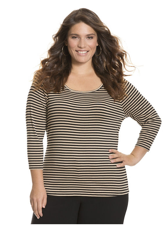 Lane Bryant Plus Size 34 sleeve delicate ribbed tee by Size 26/28, tan - Lane Bryant ~ Trendy Plus Size Clothes