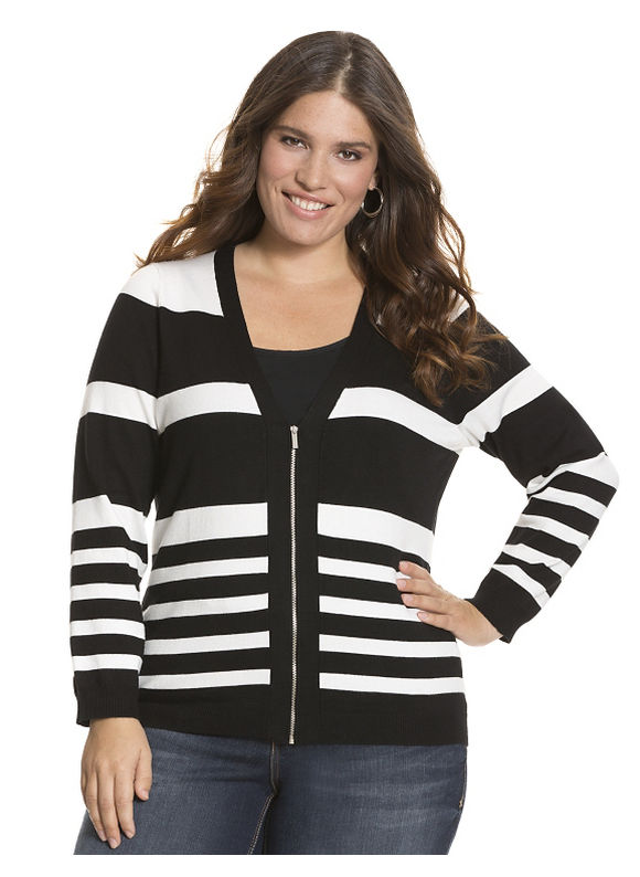 Zip front striped cardigan Plus Size/Black Tops by Lane Bryant