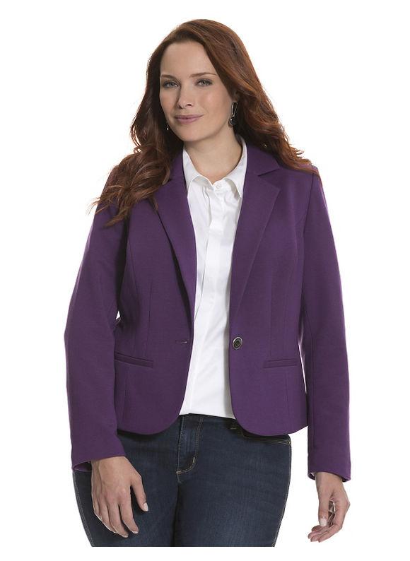 Plus Size French terry blazer Lane Bryant, purple