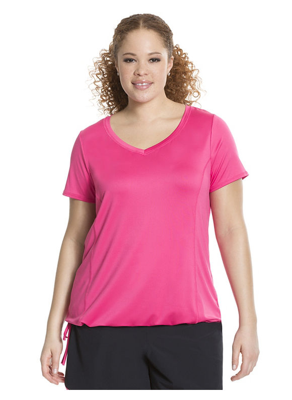 Lane Bryant Plus Size Wicking tie-bottom active tee Size 18/20, Passionfruit Pink