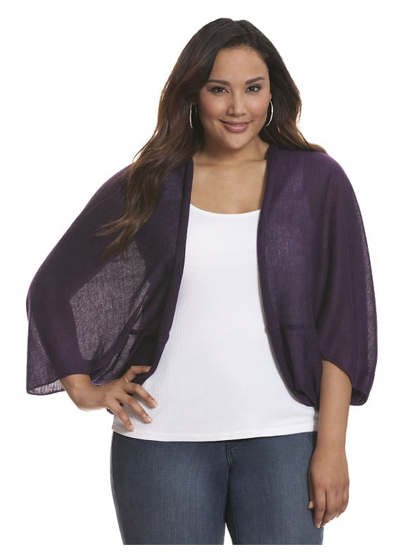 Lane Bryant Plus Size Scarf sweater - - Women's Size One Size, Black, Blackberry, Med Heather Gray