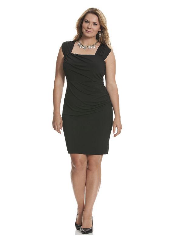 Lane Bryant - Plus Size Control Tech slimming ruched dress - Size 16, Black Dresses