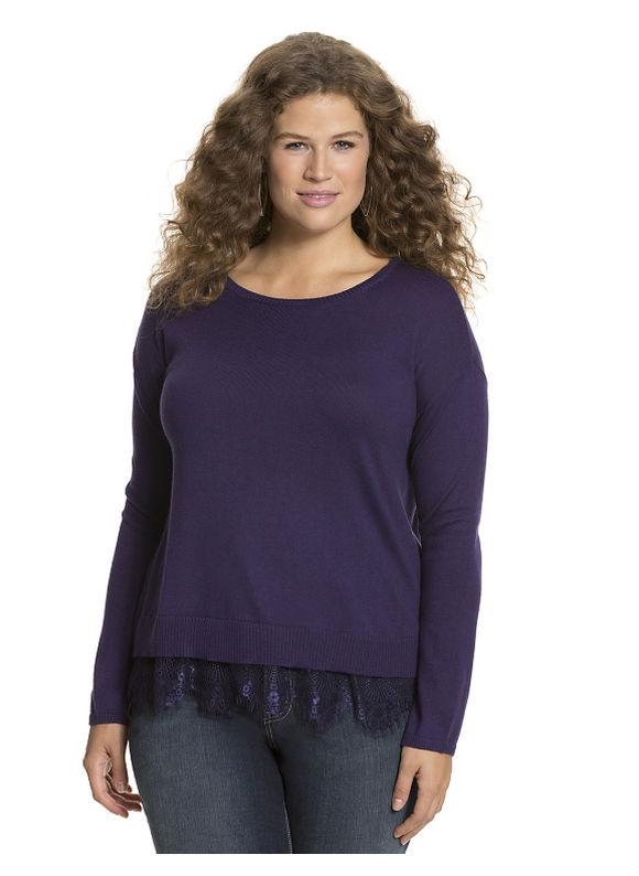 Lane Bryant Plus Size Lace hem sweater Size 14/16, purple