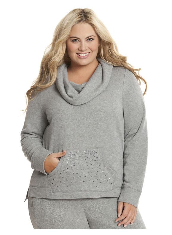 Lane Bryant Plus Size Embellished cowl sweatshirt Size 26/28, gray