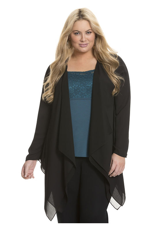Lane Bryant Plus Size Draped Woven Cardigan - - Women's Size 18/20, Black