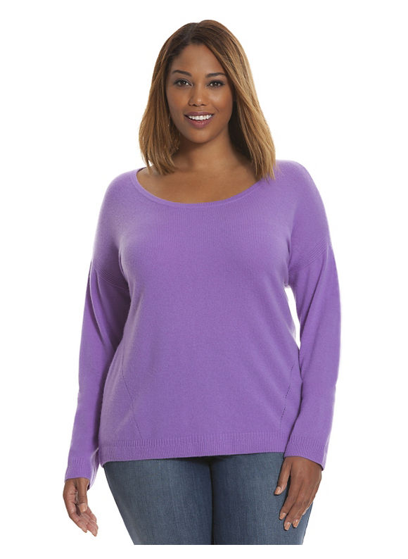 Plus Size Cashmere scoop neck sweater - Size 14/16, Lavender Sorbet Tops by Lane Bryant