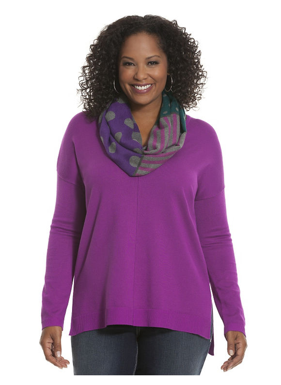 Lane Bryant Plus Size The Weekend V sweater - - Women's Size 14/16, Vibrant Violet