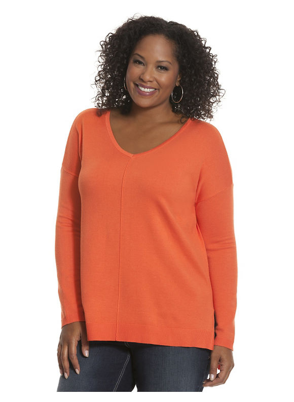 Lane Bryant Plus Size The Weekend V sweater - - Women's Size 14/16, Solar Orange