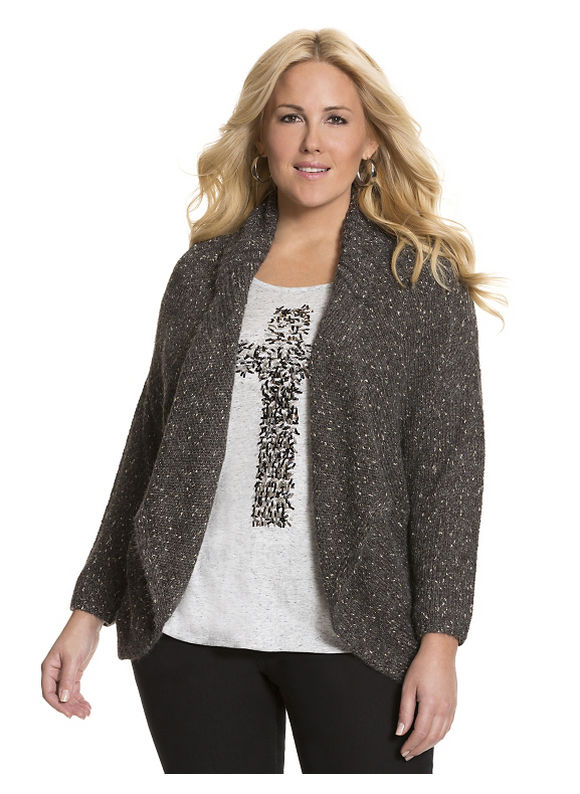 Lane Bryant Plus Size Metallic cocoon sweater Size 14/16,18/20,22/24,26/28, purple