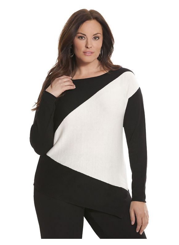 Lane Bryant Plus Size 6th & Lane angled colorblock sweater Size 12, black - Lane Bryant ~ Trendy Plus Size Clothes