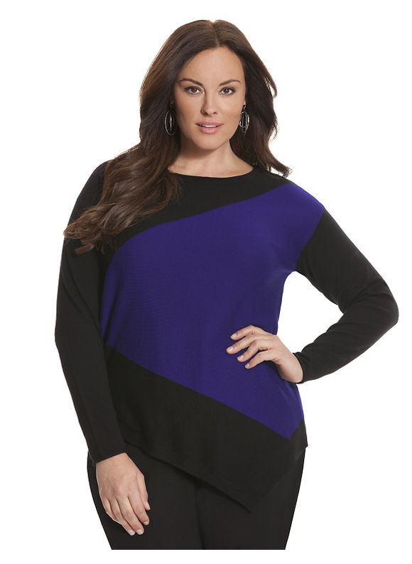 Lane Bryant Plus Size 6th & Lane angled colorblock sweater Size 12,14/16,18/20,22/24,26/28, Black, Iris - Lane Bryant ~ Trendy Plus Size Clothes