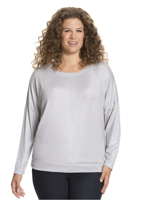 Lane Bryant Plus Size Long sleeve tee with ribbed trim Size 14/16, silver