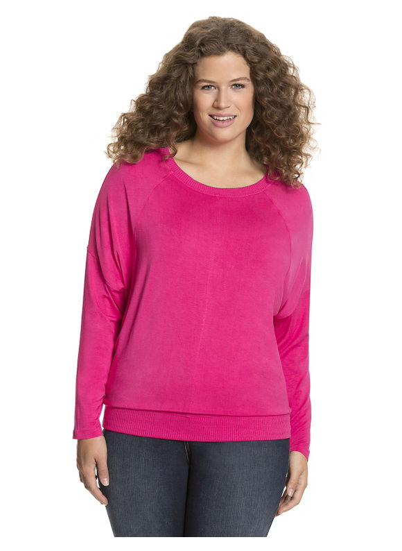 Lane Bryant Plus Size Long sleeve tee with ribbed trim Size 14/16, pink