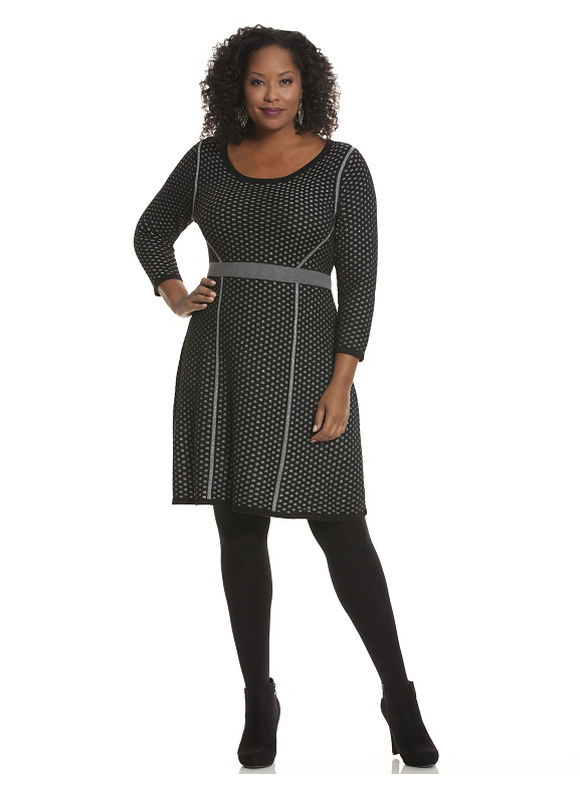 Plus Size Perforated sweater dress - Black dresses by Lane Bryant