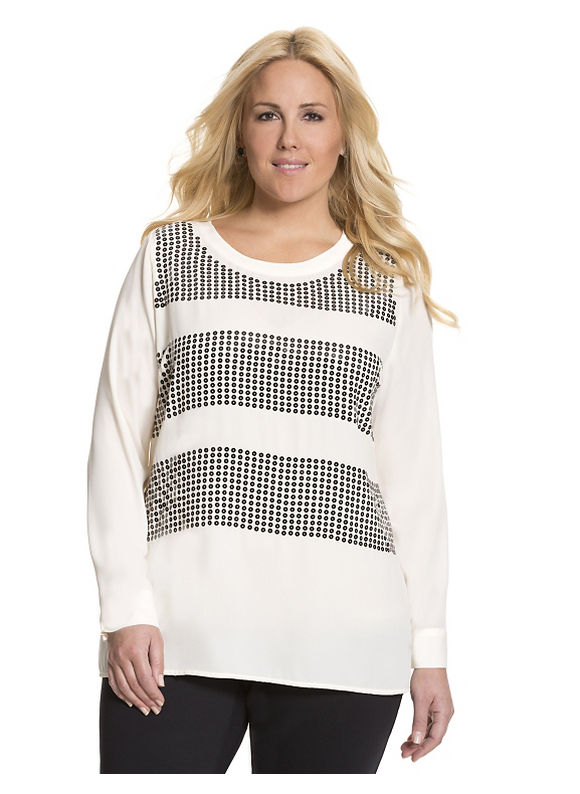 Lane Bryant Plus Size Sequin striped tunic Size 26/28, white