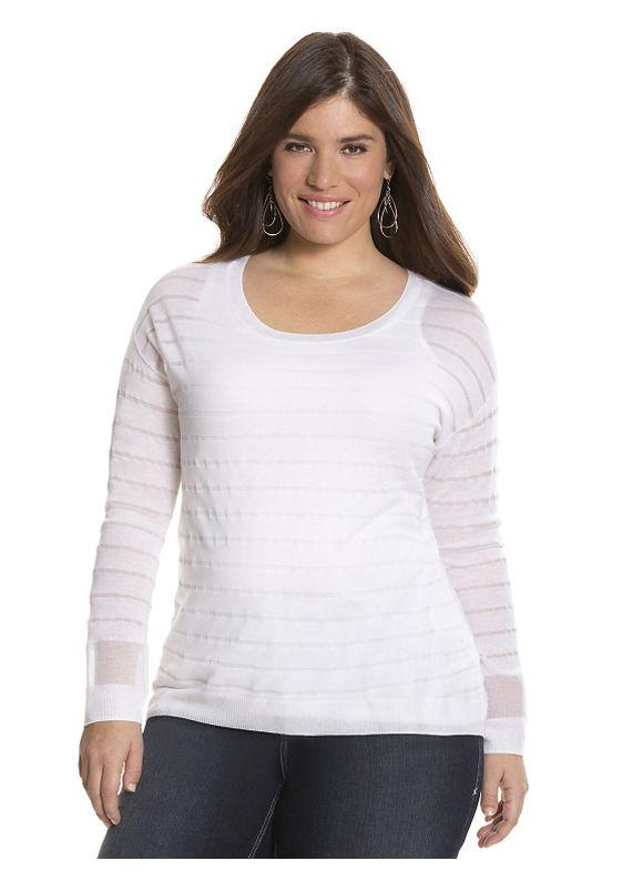 Lane Bryant Plus Size Striped illusion pullover sweater Size 18/20, white