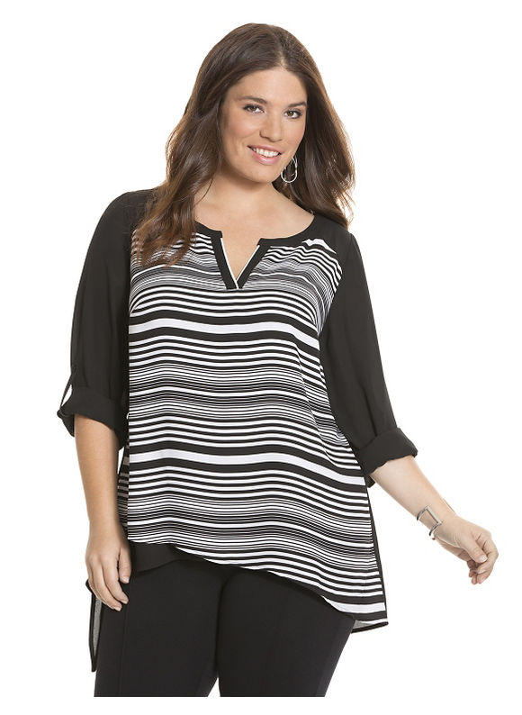 Striped asymmetric tunic Plus Size/White by Lane Bryant