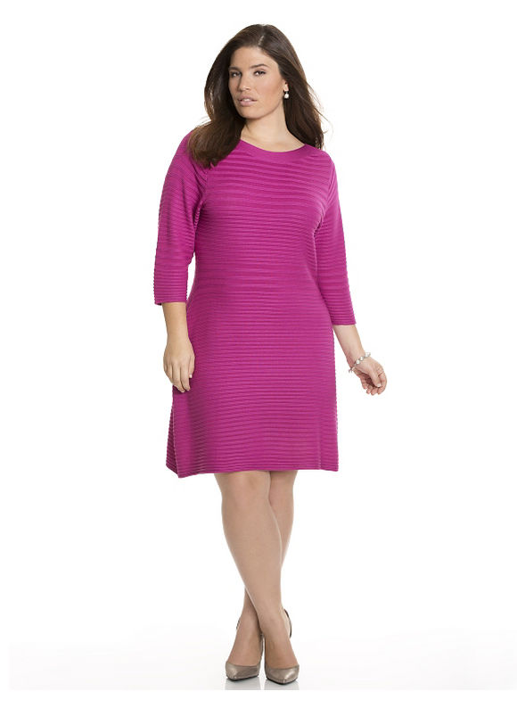 Plus Size Textured A-line sweater dress Lane Bryant Women's Size 22/24, turquoise-