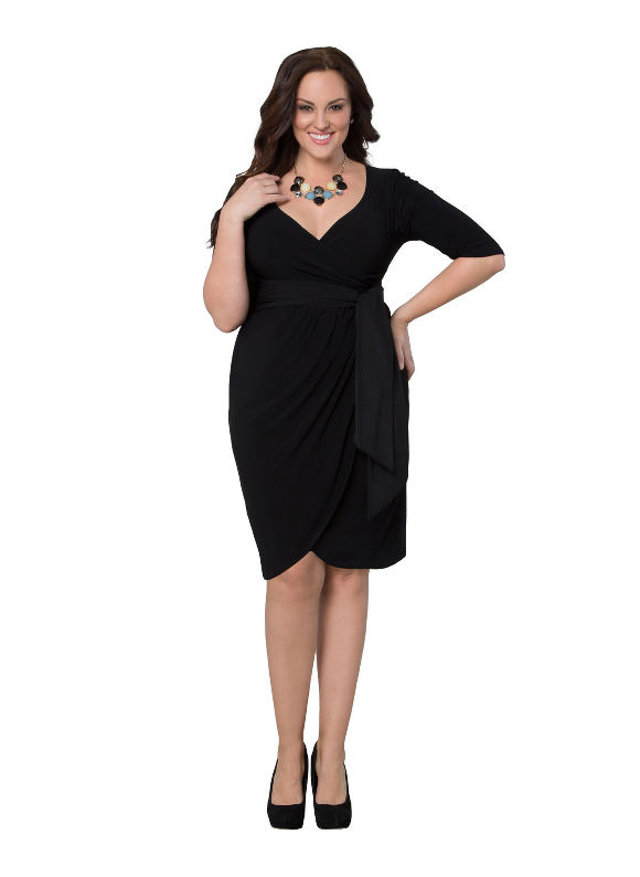 Plus Size Harlow faux wrap dress by Kiyonna Lane Bryant Women's Size 4X, black - Lane Bryant ~ Trendy Plus Size Clothes