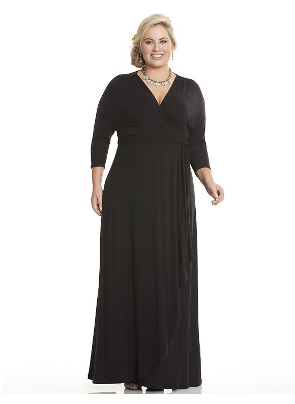 Plus Size Wrapped in Romance dress by Kiyonna Lane Bryant Women's Size 1X, black